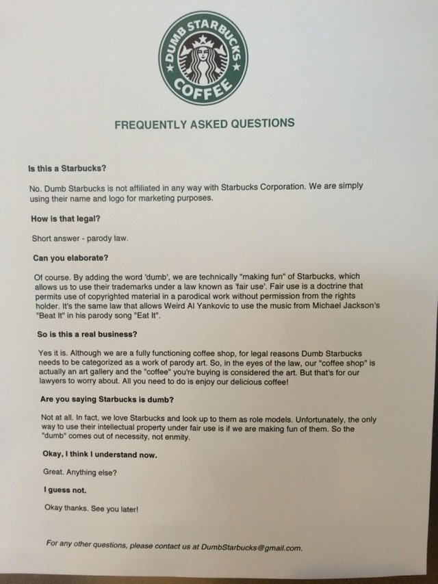 Dumb Starbucks FAQ